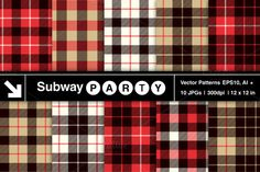 Ten Seamless Lumberjack Flannel Shirt Inspred Vector Patterns (EPS, Ai) and Textures / Digital Papers (JPGs) in Red, Black, White and Khaki Tartan and Gingham Plaid Patterns. Trendy Hipster / Lumbersexual and Burberry Style Backgrounds. SubwayParty on @creativemarket