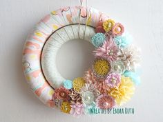 Spring Double Wrapped Fabric Wreath by Wreaths By Emma Ruth on Etsy, FB & IG