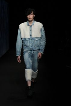 Shearling panels update denim wear at FACTOTUM this A/W 15/16 #mbfwt