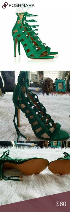 Never worn Green Lace Up Gladiator Heels Size 11.5 Green strappy gladiator lace up heels. Brand new never worn with box. Perfect condition size 11.5 (11 and a half) Shoes Heels