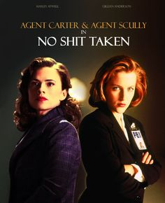 Agent Carter and Agent Scully in NO SHIT TAKEN. Caught in a Hydra experiment utilizing stolen Stark technology, Agent Carter is frozen in time until her capsule is discovered as part of an X-File investigation and Peggy is revived.Thrust into a future she never expected to see, Agent Carter takes a no-nonsense attitude towards her predicament, teaming up with Agent Scully to investigate paranormal, extra-terrestrial, and super-human activities with an absolute minimum of bullshit.