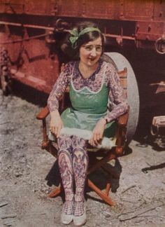 Picture of a tattooed lady from Ringling Brothers Circus circa 1931