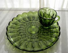 Anchor Hocking Glass Green Fairfield Snack Luncheon Plate \u0026 Cup Set #AnchorHocking & Details about Anchor Hocking Glass Clear Arlington Serva Snack Plate ...