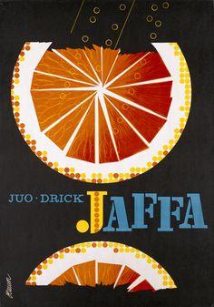 Renowned Finnish orange lemonade label from my childhood | Erik Bruun / Jaffa katujuliste, 1960