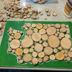 Washington silhouette made of log slices-- work in progress  #washington #etsy #logslices #woodslices #handmade