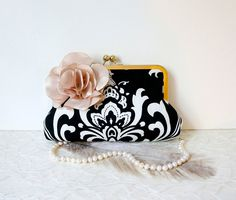 Black and White Damask Clutch Purse with Champagne Flower- Black, Gold, Champagne Wedding. $75.00, via Etsy.