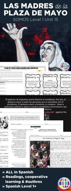 Who are Las madres de la Plaza de Mayo? Why do they march? What was the Guerra Sucia? Answer these questions for your Level 1 students and beyond with these input-rich materials designed for Spanish students. Spanish Basics, Ap Spanish, Spanish Culture, Learn Spanish, High School Spanish, Spanish Teacher, Spanish Classroom, Spanish Teaching Resources, Spanish Activities