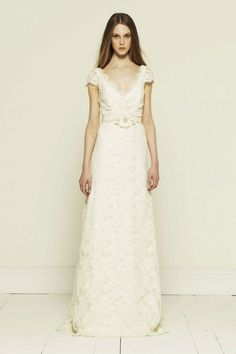21d310e8e42ab Collette Dinnigan French corded lace short sleeve with train Wedding Dress