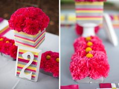 Pink, Yellow, & Gray Modern table number!