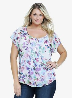 Floral Crossover Back Chiffon Top | Torrid