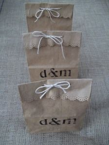 Party favors for bridal shower, stamp bag, deco punch the tops, fill.