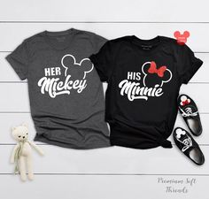 Her Mickey and His Minnie Shirts, Disney Couple Shirts, Matching Minnie Mickey T-Shirts, Disney Trip Shirt, Disney Vacation Tanks Cute Couple Shirts, Disney Couple Shirts, Dad To Be Shirts, Family Shirts, Matching Hoodies For Couples, Matching Disney Shirts, Matching Outfits, Disney Bound Outfits, Couple Outfits