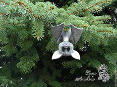 """Купить Летучая мышь """"Брюс"""" - серый, летучая мышь, мышка, фелтинг, Валяние, Сухое валяние"""