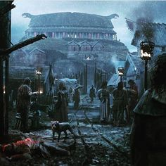 Generally, zero windows were used in the home. The roof would incorporate some smoke holes over the central firepits. Fantasy City, Fantasy Places, Fantasy World, Dark Fantasy, Fantasy Landscape, Landscape Art, Vikings Art, Norse Vikings, Casa Viking