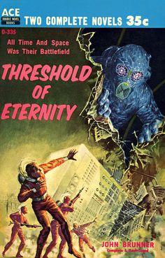 Threshold of Eternity, John Brunner (1959), cover by Ed Emshwiller #pulp #art #scifi