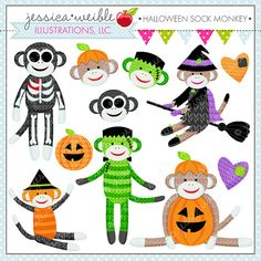 Halloween Sock Monkey  Cute Digital Clipart  by JWIllustrations, $5.00