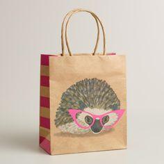 Small Hedgehog with Glasses Kraft Gift Bag   World Market