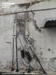 Too Narrow Sculpture, Soo Hong Lane, George Town, Penang Steel Sculpture, Steel Rod, Wire Art, World Heritage Sites, Caricature, Street Art, Sculptures, George Town, Creative