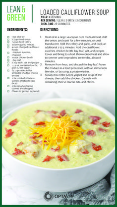 Loaded Cauliflower Soup: Sub vegan alternatives i. beans, veggie bacon, veggie cheese, etc. Medifast Recipes, Low Carb Recipes, Diet Recipes, Cooking Recipes, Healthy Recipes, Recipies, Pancake Recipes, Healthy Meals, Loaded Cauliflower