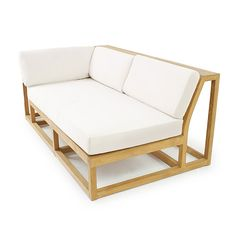 "Plush, deep cushions atop a clean-lined solid teak frame give the visual impression of lightness while 6"" wrap-around armrests provide ample space for drinks, yet are sturdy enough to sit on. The Maya Right Teak Sectional can be used in a number of combinations with the other pieces in the Maya collection to fit any space."