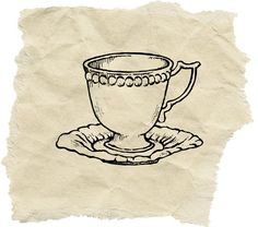 Antique Tea Cup Stamp B by Asahisogo on Etsy, $5.30