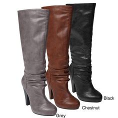 @Overstock - With an almond toe and slouch design, these mid-calf platform boots for women will look great with slim jeans or skirts for any occasions. Featuring faux fur lining and a convenient inner zipper, these chunky-heeled boots shimmer with style.http://www.overstock.com/Clothing-Shoes/Bamboo-by-Journee-Womens-Mid-calf-Platform-Boots/5158589/product.html?CID=214117 $39.59