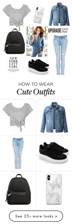 """""""Denim Outfit"""" by mariatibirna on Polyvore featuring Alexander McQueen, LE3NO, MANGO and Recover"""