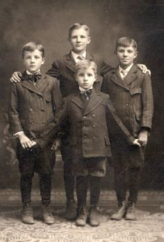 One of the things that I like most is looking at antique photography. I can spend hours at nights observing the faces, the clothes, how they are posing . This photograph is so beautiful. Four proud brothers together . I wonder what kind of men they'd become in the future ..a future that is a very past for us because they all are now resting in peace. Carpe Diem <3