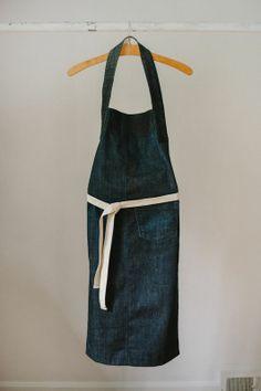 long denim apron.35 L x 15 W one off.