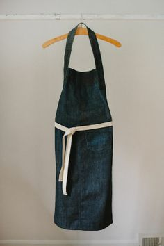 long denim apron.35 L x 15 W one off.