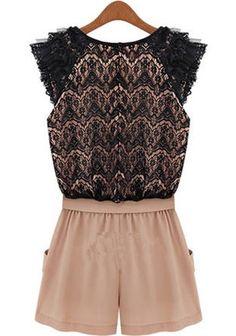 Black Pink Color Block Drawstring Waist Short Lace Jumpsuit - Shorts - Bottoms