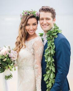 For her Hawaii destination wedding to actor Matthew Morrison, this model bride topped her sideswept wavy strands with a sweet wreath of bay leaves and ocean spray roses in her favorite color, lavender.