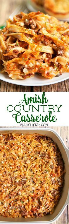 Amish Country Casserole - comfort food at its best!! Hamburger, Tomato soup, cream of mushroom, onion, garlic, milk, Worcestershire sauce, egg noodles and parmesan cheese. SO simple and tastes amazing! Everyone cleaned their plate!!! Makes a great freezer