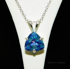 10mm Trillion Neptune Blue Mystic Topaz Sterling Silver Necklace 3.95cts #Solitaire