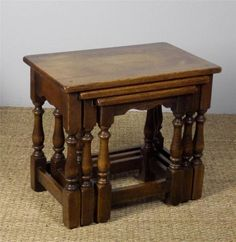 Superb Quality Solid Oak Antique Style Nest of Three Coffee Side Tables