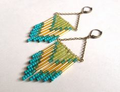 Lime and Turquoise Beaded Chevron Earrings by OliveTreeHandmade, $23.00