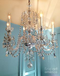 Paris Photograph - Shabby Chic Cottage Sparkling White Crystal Chandelier Photo - Dreamy Parisian Crystal Chandelier  by Kathy Fornal