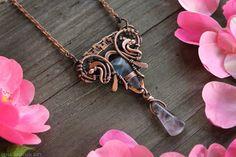 Wire wrap pendant Fluorite pendant Boho by LenaSinelnikArt