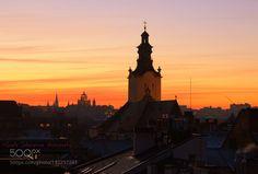 http://500px.com/photo/192297247 On the roofs of the old city. by leylaj -Lviv Ukraine. Tags: skyukrainecitysunsetwatertravelchurchlightcloudseuropeoldurbanarchitectureroofcityscapebuildinglvivtown