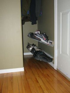 Floating Shoe Rack: I needed a shoe rack for my closet so I decided to build my own. The j-me floating shoe rack was my inspiration. Shoe Holder For Closet, Closet Shoe Storage, Diy Shoe Rack, Shoe Closet, Closet Organization, Shoe Racks, Coat And Shoe Rack, Do It Yourself Organization, Boot Rack