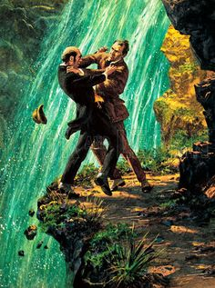 Sherlock and Moriarty fall off the cliff of Reichenbach Falls