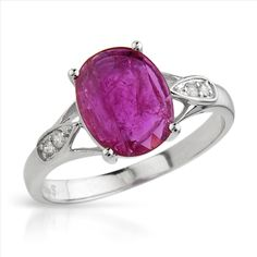 $289.00  Irresistible Brand New Ring With 1.93ctw Precious Stones - Genuine  Diamonds and Ruby Made in 14K White Gold- Size 7.5 - Certificate Available.