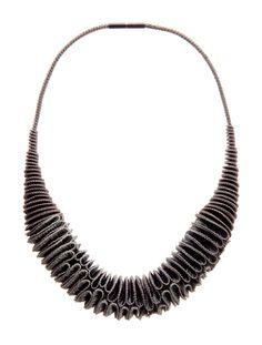 Anke Hennig  Necklace: Linea II  Rayon, nylon, silver 925 magnetic claps oxidised  47 cm