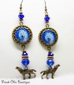 Wolf Earrings, Altered Art Earrings, OOAK, Statement Earrings, animal Totem, Spirit Animal by freakchicboutique on Etsy