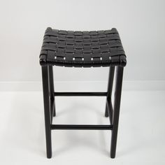 Black Weave Bar Stool Woven Bar Stools, Leather Bar Stools, Island Bench, Black Weave, Leather Weaving, Teak Wood, Counter Stools, Vanity Bench, Accent Pieces