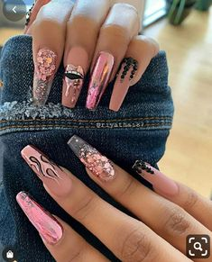 Elegant Rhinestones Coffin Nails Designs - Page 30 of 38 - ToMyFashion Pink Glitter Nails, Bling Nails, Swag Nails, Glitter Nail Polish, Edgy Nails, Stylish Nails, Kylie Nails, Grunge Nails, Summer Acrylic Nails
