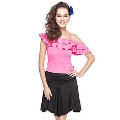 Dancewear Polyester With Ruffles One Shoulder Latin Top for Ladies – USD $ 19.99