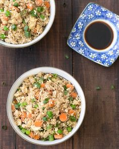 This cauliflower fried rice is quick and easy to make! It's healthy, Paleo, low carbs, low calories and grain-free. Learn how to make it with As Easy As Apple Pie!