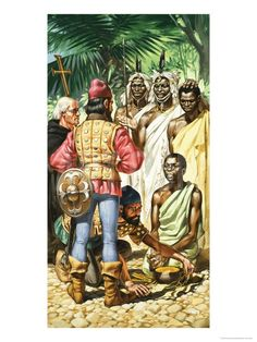 Portuguese Explorers Arriving at Cape Verde, Gambia River They Found Native Willing to Trade Gold - by Angus Mcbride
