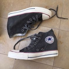 NWT (or shoe box :) Distressed Converse Wedges Adorable Distressed Converse Wedges. Never worn. Converse Shoes Sneakers